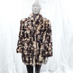 VTG Animal FUR long sleeved Coat Jacket brown